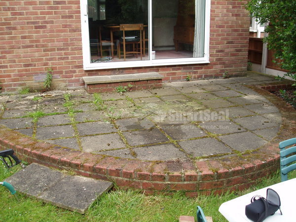 Paving slabs prior to cleaning